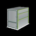 4,5 m³ gesloten container